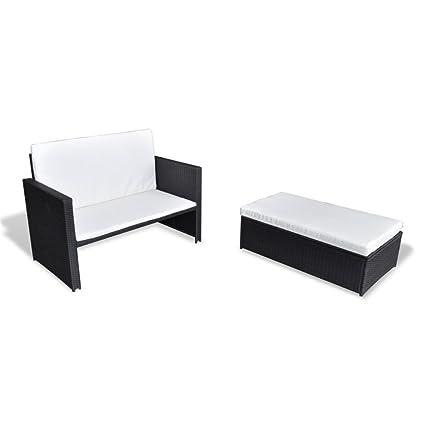 Set de Cama de sofá plegable de ratán Set de muebles de sofá cama Negro 3 en 1