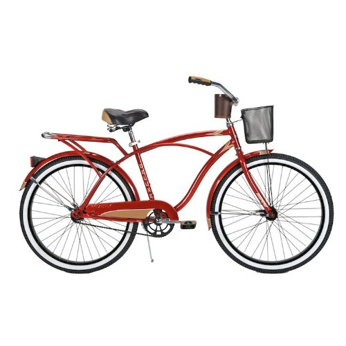 Men's 26-inch Red Beach Cruiser Bike with Basket - Huffy