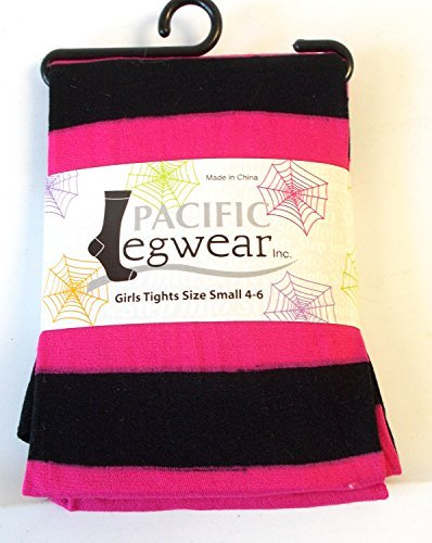 pink-black-striped-halloween-child-tights-m-7-10-nip-by-shopko