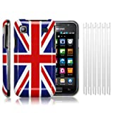 SAMSUNG i9000 GALAXY S UNION JACK BACK COVER CASE / SHELL / SHIELD, WITH 6-IN-1 SCREEN PROTECTOR PACK PART OF THE QUBITS ACCESSORIES RANGEby Qubits