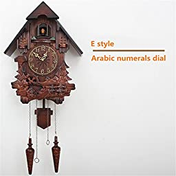 European cuckoo clock chime and light control hand-carved wood wall clocks (E style)