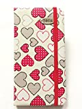 2016 Diary Slimline Padded Hardback Week To View Hearts With Page Divider White