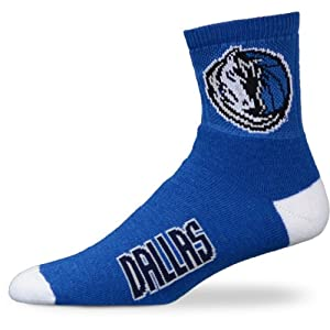 NBA Dallas Mavericks Youth Team Color Ankle Socks - Navy Blue White by For Bare Feet