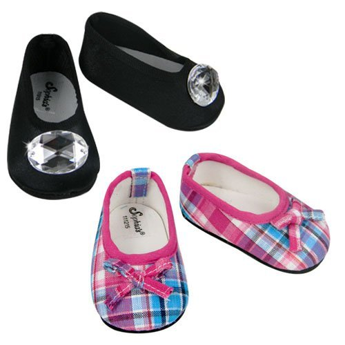 Hot Pink & Teal Plaid Shoes & Black Jeweled Flat Made by Sophia's, Fits 18 Inch American GIrl Dolls