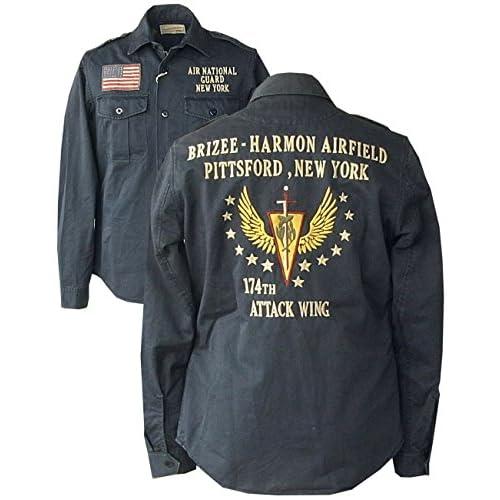 (アビレックス) AVIREX・ミリタリー ワークシャツ・ジャケット・刺繍、ワッペンシャツ[ANG] 6143543 (L, ネイビー)