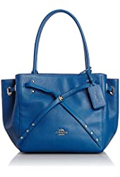 NEW AUTHENTIC COACH REFINED PEBBLE LEATHER TURNLOCK TIE TOTE SATCHEL BAG (Denim)