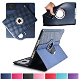 BoriYuan iPad Air 2 360 Degree Rotating stay PU Leather Case defensive Flip Folio Detachable Soft Rubber Cover For ipad by apple Air 2 with Card Slot+Screen Protector+Stylus (dark-blue)