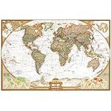 Affiche géante 'National Geographic : Carte du monde politique, planisphère - mappemonde', Taille: 185 x 122 cm