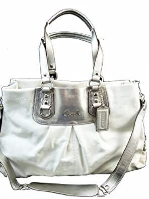 Coach Ashley Leather Carryall Satchel Tote Handbag Crossbody Purse 15513 White Silver