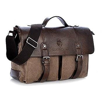 DesertWolf Canvas PU Leather Vintage Cross Body Messenger Bag/Briefcase Fit 13.3 inch Laptop