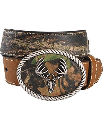 Nocona Boys' Camo Deer Skull Buckle Western Belt Brown 28 (Western Belt Boys compare prices)