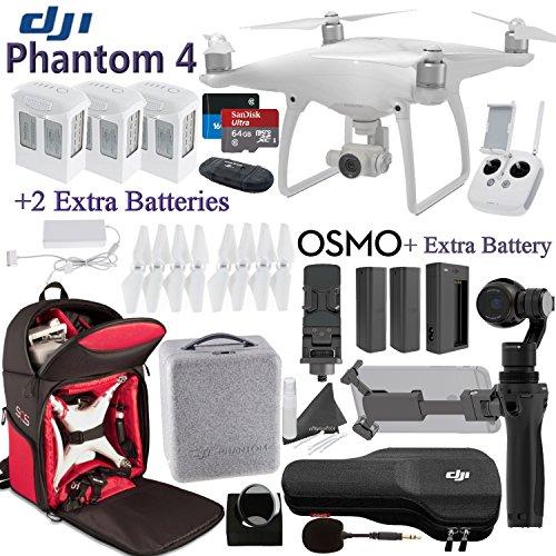 DJI-Phantom-4-OSMO-Bundle-Includes-3-Phantom-4-Batteries-2-Osmo-Batteries-Phantom-4-Shockproof-Backpack-SanDisk-64GB-MicroSD-Cards-and-more