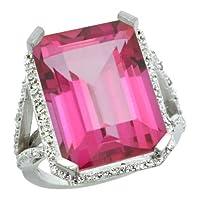 10k White Gold Diamond Pink Topaz Ring 14.96 ct Emerald shape 18x13 Stone 13/16 inch wide, sizes 5-10