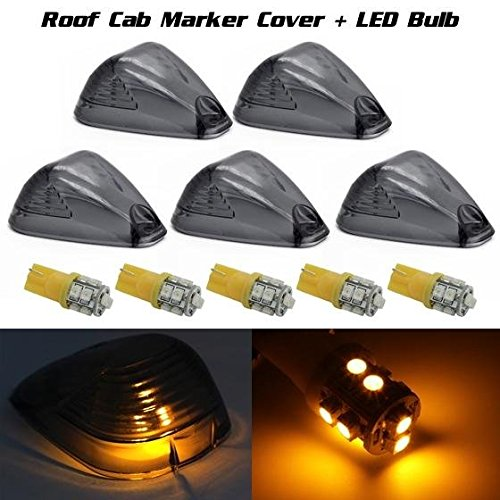 Partsam 5x Roof Running Light Cab Marker Smoke Cover+Amber 194 168 2825 10-3528-SMD LED Bulb For Ford (2000 F250 Cab Lights compare prices)