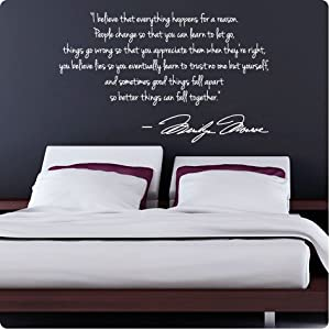 White Marilyn Monroe Wall Decal Decor Quote I Believe