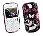 Kit Me Out US TPU Gel Case for Nokia Asha 201 - Black Pink Garden