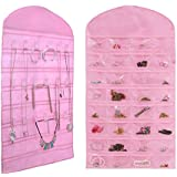 Misslo® Pink Jewelry Hanging Non-woven Organizer Holder 32 Pockets 18 Hook and Loops