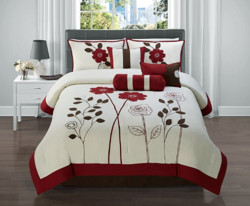7 Pc Red, Brown and Tan Floral Comforter Set / Bed in a Bag