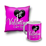 1st Valentine Cushion Cover And Coffee Mug Combo
