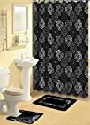 BLACK AND GREY FABRIC SHOWER CURTAIN,…