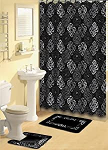 BLACK AND GREY FABRIC SHOWER CURTAIN, FABRIC COVERED RINGS, AREA RUG & CONTOUR RUG SET - 1574-480