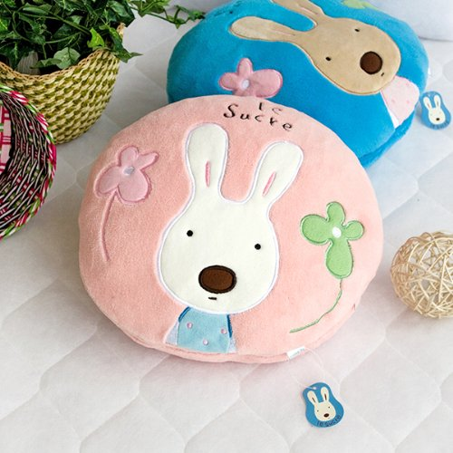 [Sugar Rabbit - Round Pink01] Blanket Pillow Cushion / Travel Pillow Blanket (25.2 by 37 inches)