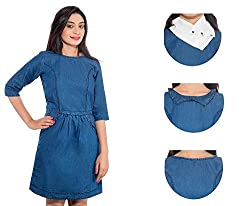 Jaamso Royals JRF001 -Cotton Denim 3 in 1 Look Princess studed Dress
