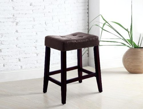 "4 24"" Saddle Back Espresso Kitchen Counter Bar Stools"