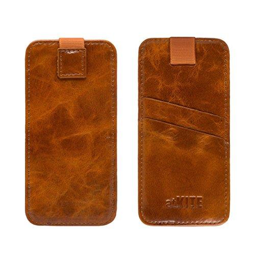 atKITE - Custodia a portafoglio in vera pelle con tasca per iPhone 6 / 6S - Marrone