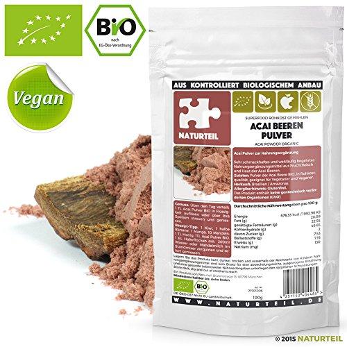 NATURTEIL - BIO ACAI BEEREN PULVER / Superfood in Rohkostqualität, Organic, Raw, Vegan - 100G