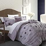 Chic Home 5-Piece Florentina Floral Pleated Comforter Set, King, Plum