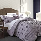 Chic Home 5-Piece Florentina Floral Pleated Comforter Set, King, Plum