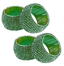 buy Set Of 4 - Green Beaded Round Napkin Rings For Wedding - Party Holiday Dinner - Dia 2.5 Inches