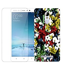Indiashopers Combo of Multi Abstract HD UV Printed Mobile Back Cover Case and Tempered Glass For Xiaomi Redmi Note 3