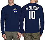 Long Sleeve Mens El Salvador Salvadorian - Soccer, Football T-shirt (Large, NAVY BLUE)