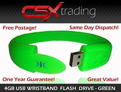 Wristband USB Flash Pen Drive Memory Stick 4GB - Green by DJC