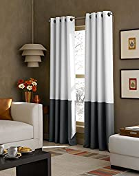 Curtainworks Kendall Color Block Grommet Curtain Panel, 95 inch, White