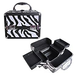 BerucciTM Professional Zebra 10 Lightweight Aluminum Makeup Artist Organizer Kit with 4 Extendable Trays, Aluminum Trimming, Lock and Keys, and Shoulder Strap