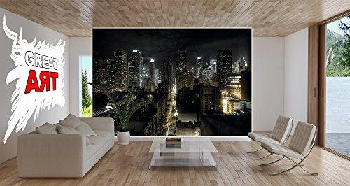 New york fotomurale manhattan di notte quadro hdr hd for Tappezzeria da parete