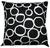JinStyles Cotton Canvas Circle Accent Decorative Throw Pillow Cover (Black & White, Square, 1 Cover for 18 x 18 Inserts)