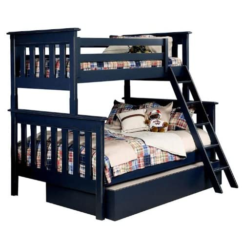 B1305-T/F Slatted Twin over Full Bunk Bed with Optional Trundle