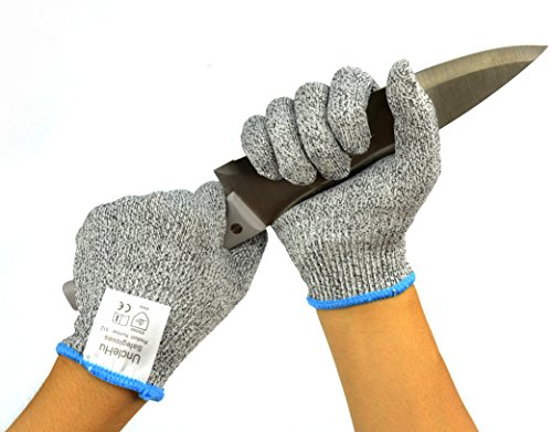 UncleHu Cut Resistant Gloves - High Performance Food Grade Level 5 Protection - Lightweight, Breathable, Comfortable - Kitchen Cooking Cutting Slicing Carving Mandolin Proof, Safety for Chef (Large) (Meat Cutter Gloves compare prices)