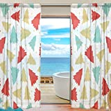 ユキオ(UKIO) 欧米 透け 紗のカーテン レースカーテン 飾り用カーテン 人気 おしゃれ,可愛い木 ブルー マルチカラー カラフル,透明 スタイルカーテン 2枚セット 幅140丈213