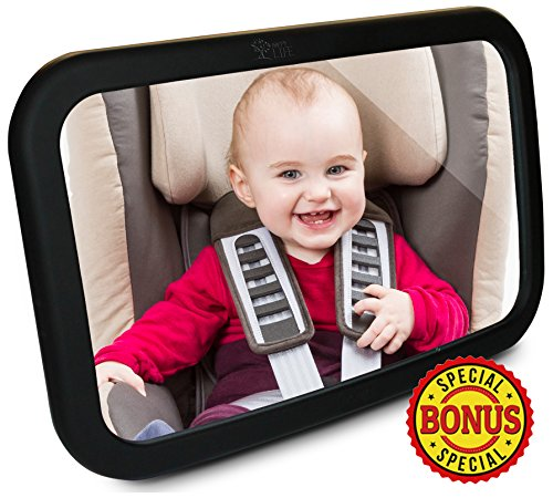 Best Baby Car Mirror - Click to See why? Comes with 2 FREE Gifts | Back Seat Rear-facing Infant In Sight | Baby in Rear Facing Car Seat | Parent Tested Safety Approved | 100% Satisfaction Guarantee!