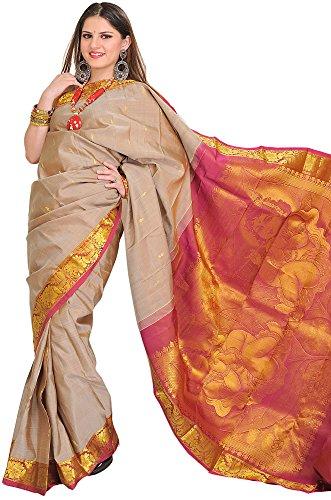 Exotic India Moonlight and Pink Kanjivaram Sari with Woven Little Krishna - Grey (Pink Indian Sari Adult Costume)