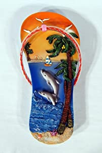 Handpainted Poly Stone Dolphin Wall Plaque (Sandal Design) 10""
