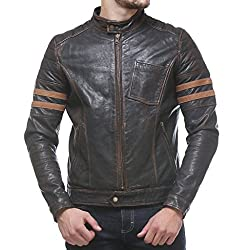 Biker Leather Jacket in Rubb off Vintage Look Two Toned Sheep Leather By Bareskin Jackets.