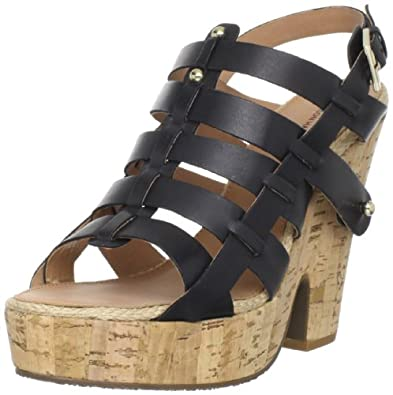 Madison Harding Women's Bobbie Platform Sandal,Black,5 M US