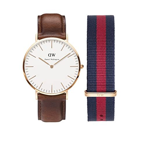 Daniel Wellington Men's Quartz Watch with Beige Dial Analogue Display and Brown Leather Strap 0106DW-0301SET