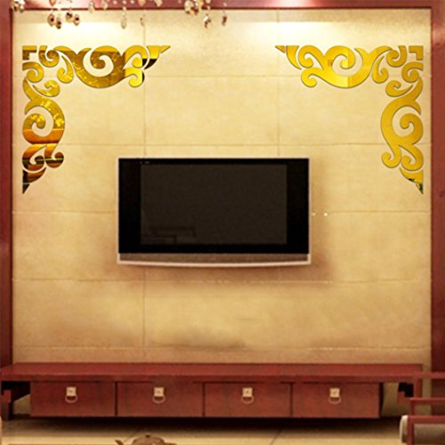 Mosunx(TM) Diagonal Corner Line Acrylic Mirror Wall Stickers Diy Home Decoration (Gold)